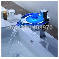(Unique Design)Art Deco Waterfall Led 3 RGB Color Changed Bathroom Sink  Basin Faucet Mixer Tap Chrome OK-778