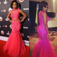 Vintage Sheer High Collar Bonang Matheba Appliqued Tulle Pink Mermaid Evening Celebrity Dress 2014