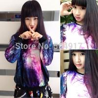 2014 new harajuku Korean Preppy style loose Pullovers gradient sweatshirts sweatshirt Star tie-dye galaxy for women tracksuits