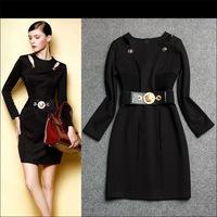 2014 Women Autumn Winter Dresses Haute Couture Runway Studs Belt Button Slim Pencil  Long  Dress