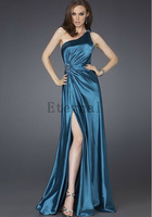 2014 NEW Fashion satins One shoulder  prom dresses evening dress Formal dress high-grade Long evening Dress E1516