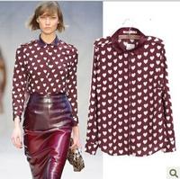 [B-1505]  Free shipping 2014 Fall New women print shirt Heart lapel long-sleeved shirt printing