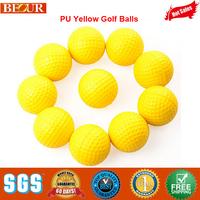 Yellow Golf Balls, Wholesale High Quality PU Yellow Golf Balls Free Shipping