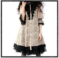 2014 Autumn Vintage Lolita lace print dress women loose chiffon dress