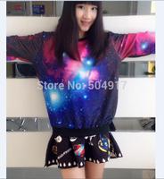 2014 harajuku sweatshirt Star tie-dye galaxy Korean style 3D loose Pullovers gradient sweatshirts for women baseball sportswear