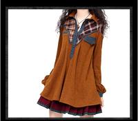 2014 Autumn Women's vintage denim patchwork blouse shirt SA10120D