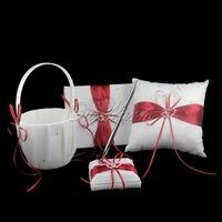 4Pcs/set  Red Satin Ring Pillow+Flower Basket+Guest Book+Pen Set Wedding Decoration Bridal Wholesales