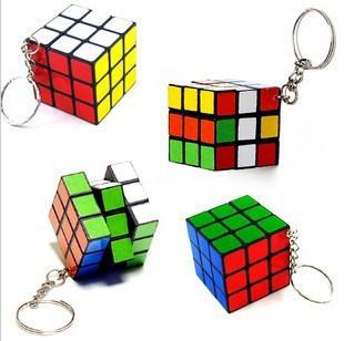 Creative toys Keychain Rubik's cube 3x3x3cm Puzzle Game Toy Key rings Xmas gifts 24pcs(China (Mainland))
