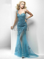 2014 New lace evening dress Formal dress sexy One-Shoulder Long evening Dress Sweetheart prom dresses E1519