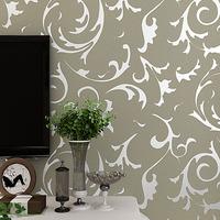 PVC Wall Paper Damask 3D Vinyl Vintage Wallpaper Silver for Living Room Bedroom Home Decor