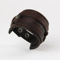 New Arrival High Quality Brown Color Wide Real Male Leather Bracelets LB-HF039