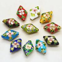 10 PCS Mixed Rhombus Shape Flower Cloisonne Enamel Loose Beads National Culture Arts 20*13mm