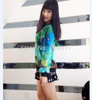 2014 harajuku sweatshirt Star tie-dye galaxy gradient sweatshirts Korean style 3D loose Pullovers for women baseball sportswear