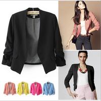 [B-1462] Free shipping 2014 new Autumn korean blazer women  slim candy color blazers  5 colors