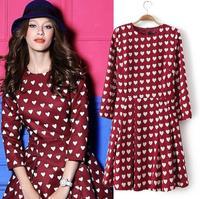 [B-404] 2014 Spring new Korean Women Slim Sleeve dress love peach heart print dress round neck  dresses