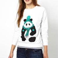 Fashion Lady Women Pop Panda Pattern Loose Long Sleeve Hoody Printed Sweatshirt Pullover Hoodies #64120