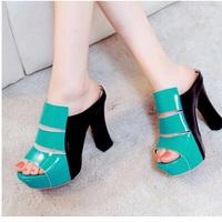Sexy ultra high heels platform drag platform thick heel slippers casual female
