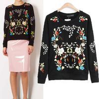 Women Slim Flower Embroideny Round Neck Trend Top Hoody Hoodies Sweatshirt Pullover #64133