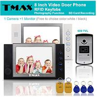 "TMAX 8"" LCD Video Door Phone Support Photograph SD Card Recording with RFID Keyfob 600TVL HD IR Camera"