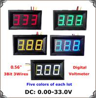 "Red/blue/yellow/Green/White Display led Color 0.56"" DC0-33.0V Digital Voltmeter 3 wires 3bit  Voltage Meter [5 pcs/lot]"