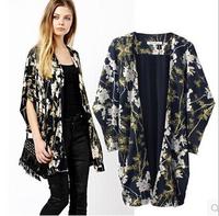 [B-1507]  Free shipping 2014 Hitz women kimono jacket Oriental style kimono knit cardigan jacket printed blouse