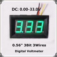 "Green  Display led Color 0.56"" DC0-33.0V Digital Voltmeter with shell 3 wires 3bit Variable precision Voltage Meter [4 pcs/lot]"