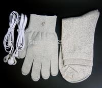 Conductive fiber TENS/EMS electrode massage gloves +  socks + 2 pcs DC 3.5 electrode wires/cables for TENS/EMS machine