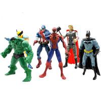6 pcs/set Movie Action Figures The Avengers Hulk Batman Thor Iron Man Spiderman Captain America Toys Hulk Free Shipping