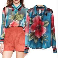[B-1508]  2014 new fall flower chiffon blouse large flowers printed chiffon shirt long-sleeved shirt loose perspective