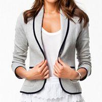 2014 New Women's Boutique Fashion Lapel Collar Long Sleeve Long Sleeve Jacket Button Pocket Short Coat ZE3146A