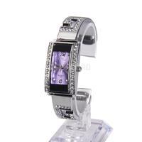 Women Bracelet Watch Diamante Face Strip Hour Marks with Purple Square Dial #gib