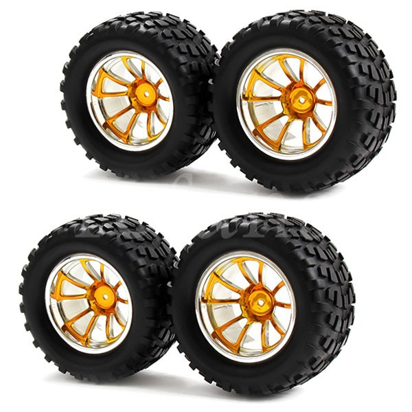 4pcs Bigfoot Car RC 1:10 Blue Plating Square Rubber Tires Wheel Rims 10 Spoke Monster Truck(China (Mainland))
