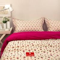 2014 Winter home textile Cream& hot pink bedding princess Floral 100% cotton bedding set 4 pcs comforter cover king queen