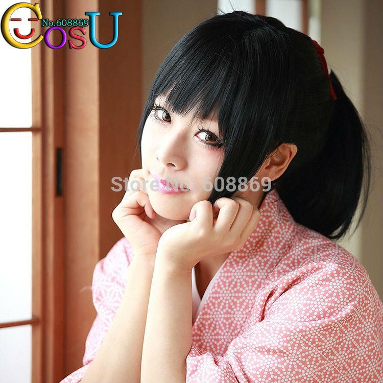 Free Shipping Yukimura Chizuru Black One Ponytail Long Straight Cosplay Wig Hair Costume Wigs+Cap(China (Mainland))