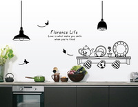 """diy 3D cartoon cooking tool wall stickers""""florence life"""" cup dishes home decor decoration for kitchen removable poster mural"""