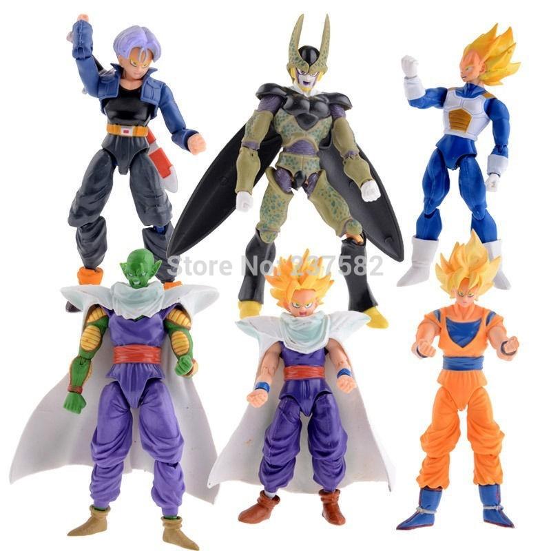 New 6pcs/lot 15cm Dragon Ball DBZ Anime Goku Vegeta Piccolo Gohan super saiyan Joint Movable dragon ball z action figures Toy(China (Mainland))
