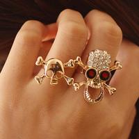Fashion punk diamond-studded skull skeleton unisex double ring Resizable rings,free shipping