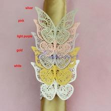 Drop Shipping New 12 Pcs 5 cores anéis de guardanapo borboleta titular Wedding Bridal Shower Favor(China (Mainland))