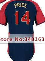 #14 David Price Jersey Black,Mix Order,Size M-XXXL,2014 All-Star Baseball Jersey,Free Shipping,Men's Authentic  Jersey