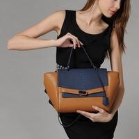 braccialini bag 2014 handbag vintage color block one shoulder cross-body fashion all-match women's handbag for Crocodile female