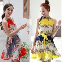 Vintage sweet one-piece dress belt pleated dress beach short dress