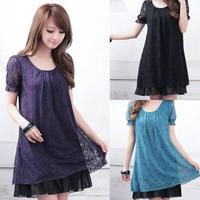Summer Fashion Lady Luxury Plus Size Full Lace Loose Short Sleeve Hollow Dress High Quality M/L/XL/2XL/3XL/4XL 3 Colors HOT