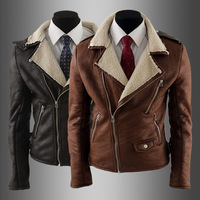 2014 New Fashion Men's More Zipper Brief Slim Berber Fleece Leather Outerwear  Size:M-XXL Color:Light Brown ,Dark Brown