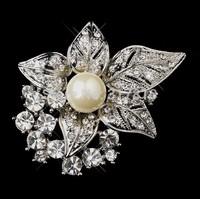 "2"" Vintage Style Rhodium Silver Plated Ivory Pearl Leaf Flower Wedding Bouquet Bridal Brooch"