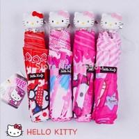 1pc kids umbrella cute Cartoon Hello Kitty Hanging Umbrella Handle Sun Rain three folding Umbrella children