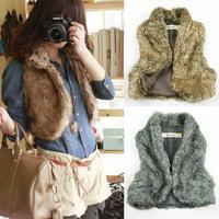 Faux Fur Vest High Quality Plus Size 2014 New Hot Sale Fashion Big Brand Winter Warm Women Fur Waistcoat Outwear Jacket Fur Coat