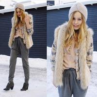 Outwear Women Jacket Coat Faux Fur Coat High Quality Plus Size S-XXXL 2014 New Fashion Brand Winter Warm Women Fur Waistcoat