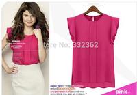 Free Shipping 2014 Women Plus Size Round Neck Short Sleeve T-shirt Shirt  Butterfly Sleeve Chiffon Shirt