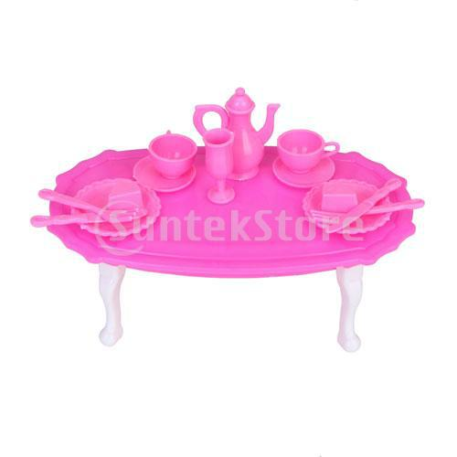 New 2014 Brand New Dining Room Furniture Dining Table Set for Barbie Doll - Shocking Pink And White Free Shipping(China (Mainland))