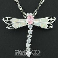 Pink Topaz White Fire Opal Silver Fashion Jewelry Women  Pendant OCP0152BC  Wholesale & Retail